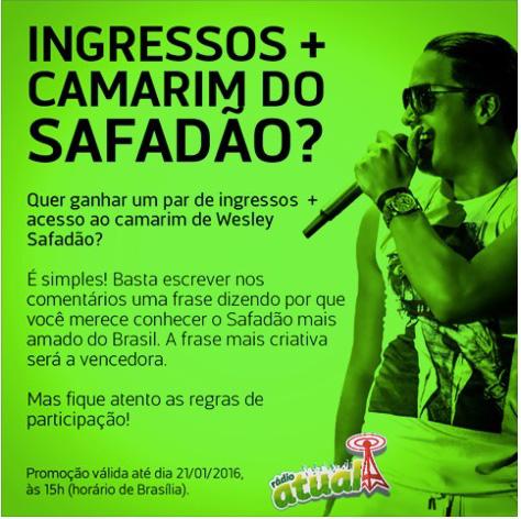 Promoção Ingresso Camarim Do Safadão Rádio Atual